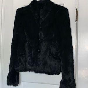 Jackets & Blazers - Beautiful Black Rabbit fur coat